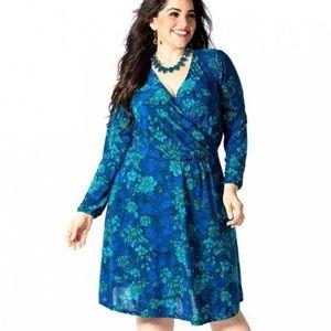NWT IGIGI Blue Floral Wrap Stretch Dress 22/24